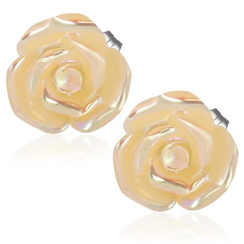 Zlatý květ s perletí - Ocelové náušnice