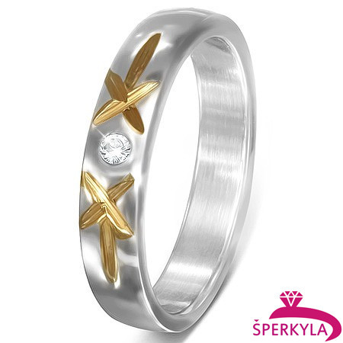 Ocelový prsten s zirkonem a dvěma zlatými křížky