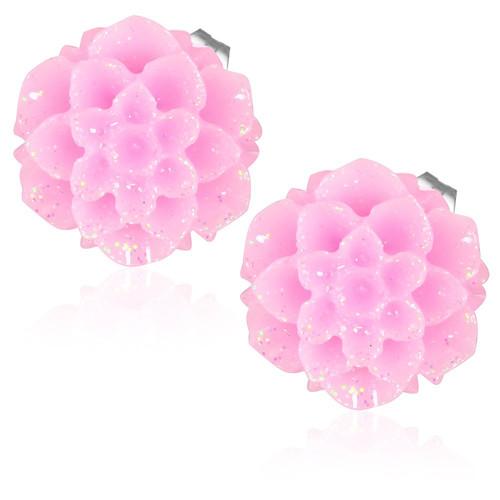 Růžový květ - Ocelové náušnice